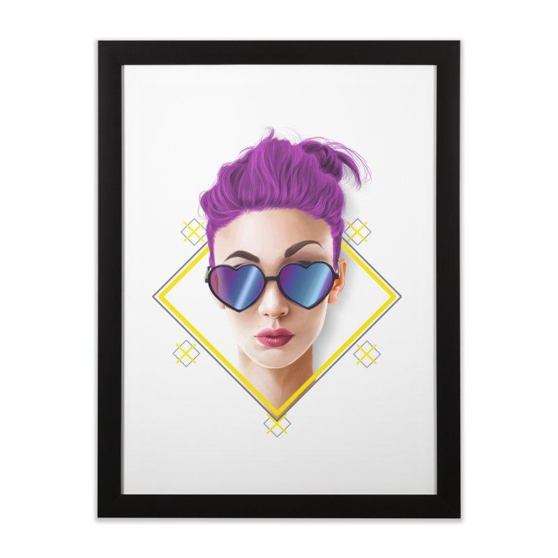 girl_glasses_heart Home Framed Fine Art Print by gabifaveri's Artist Shop