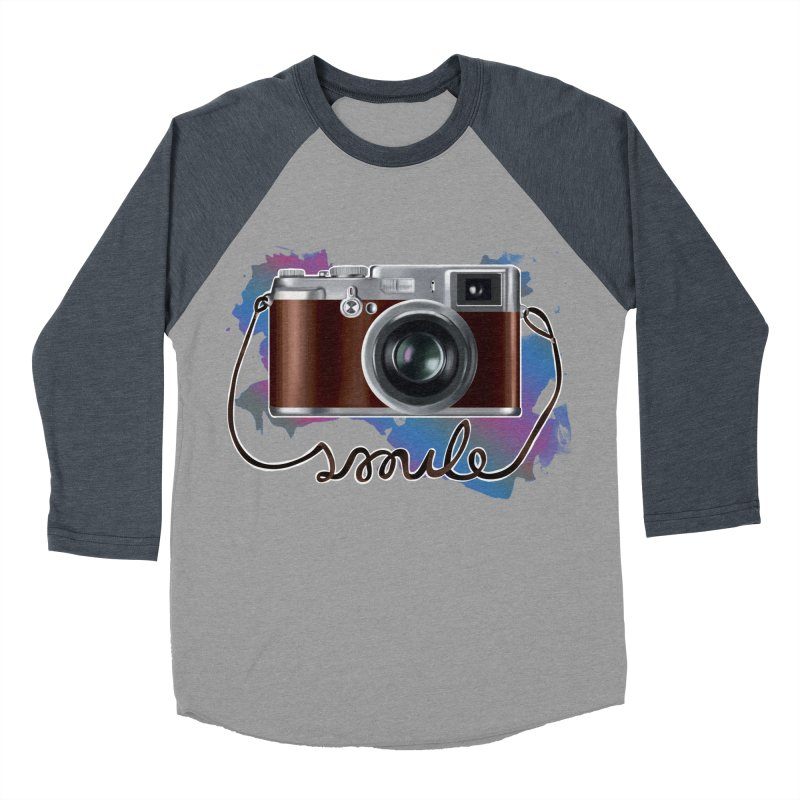 camera_smile Men's Baseball Triblend Longsleeve T-Shirt by gabifaveri's Artist Shop