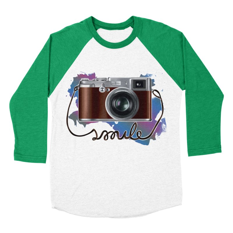 camera_smile Men's Baseball Triblend Longsleeve T-Shirt by gabifaveri's Artist Shop
