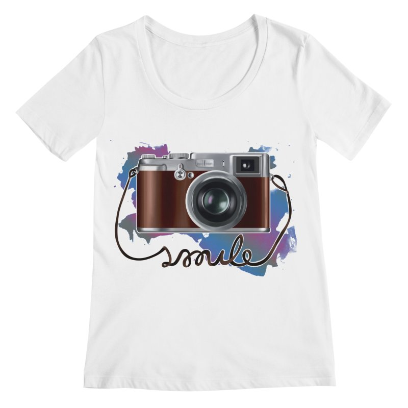 camera_smile Women's Regular Scoop Neck by gabifaveri's Artist Shop