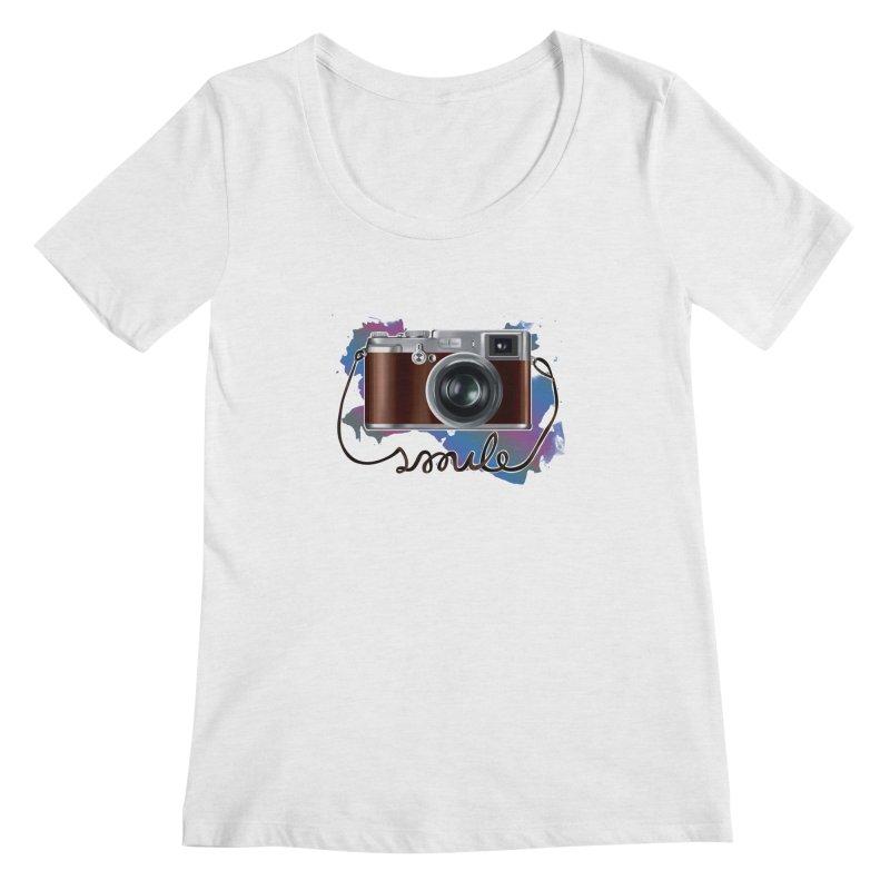 camera_smile Women's Scoop Neck by gabifaveri's Artist Shop