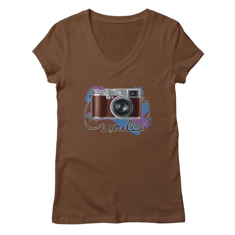 camera_smile Women's Regular V-Neck by gabifaveri's Artist Shop