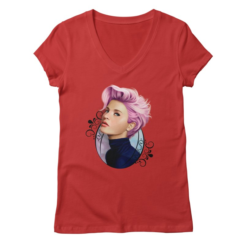 hair pink Women's Regular V-Neck by gabifaveri's Artist Shop