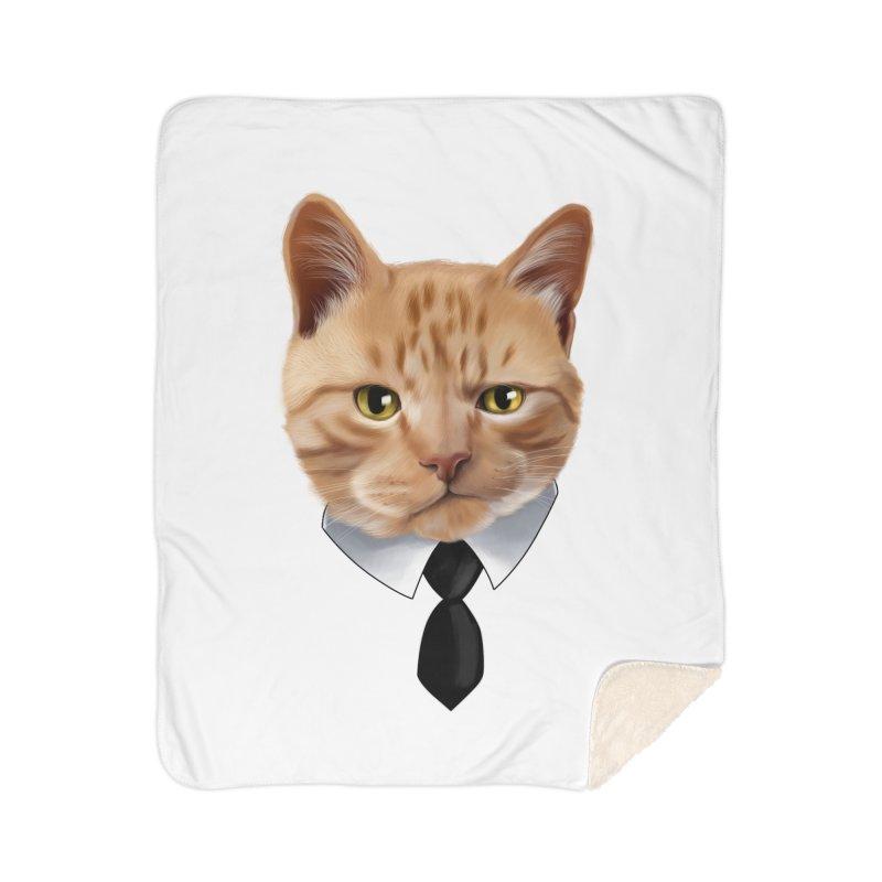 business cat Home Sherpa Blanket Blanket by gabifaveri's Artist Shop