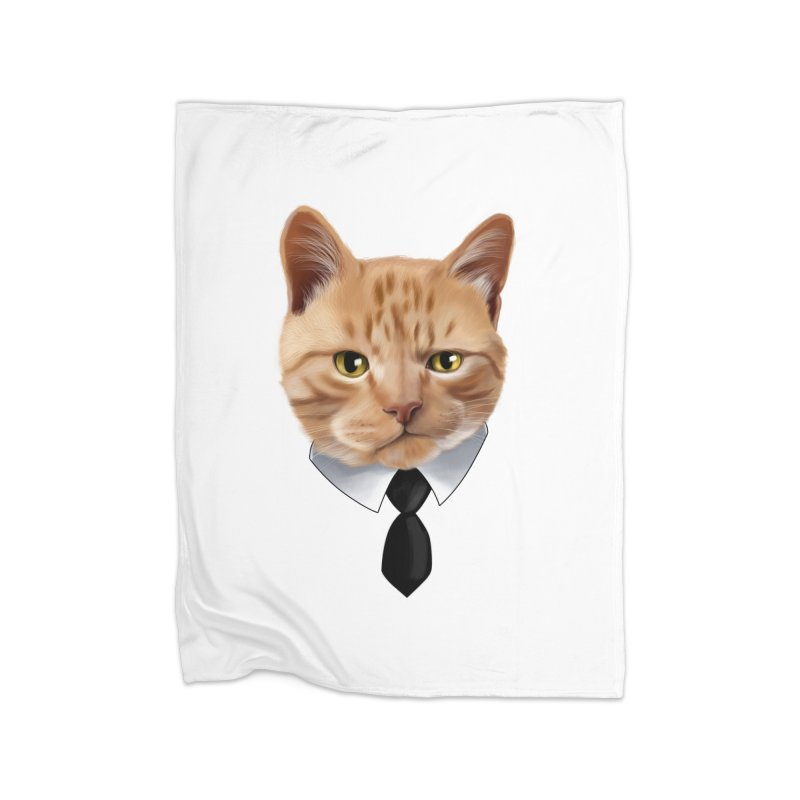 business cat Home Fleece Blanket Blanket by gabifaveri's Artist Shop