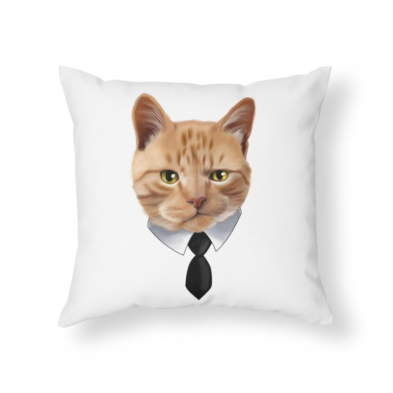 business cat Home Throw Pillow by gabifaveri's Artist Shop