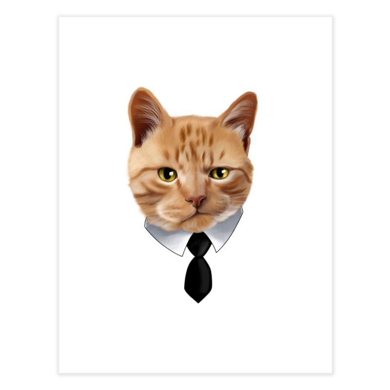 business cat Home Fine Art Print by gabifaveri's Artist Shop