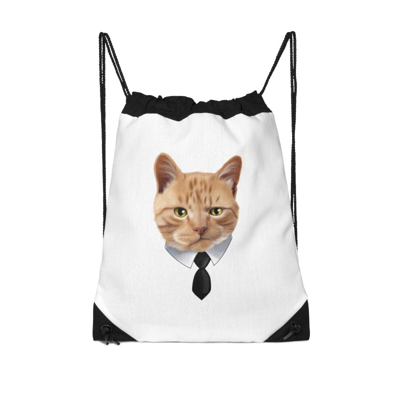 business cat Accessories Drawstring Bag Bag by gabifaveri's Artist Shop