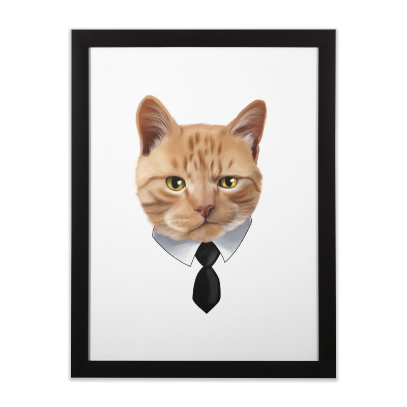 business cat Home Framed Fine Art Print by gabifaveri's Artist Shop