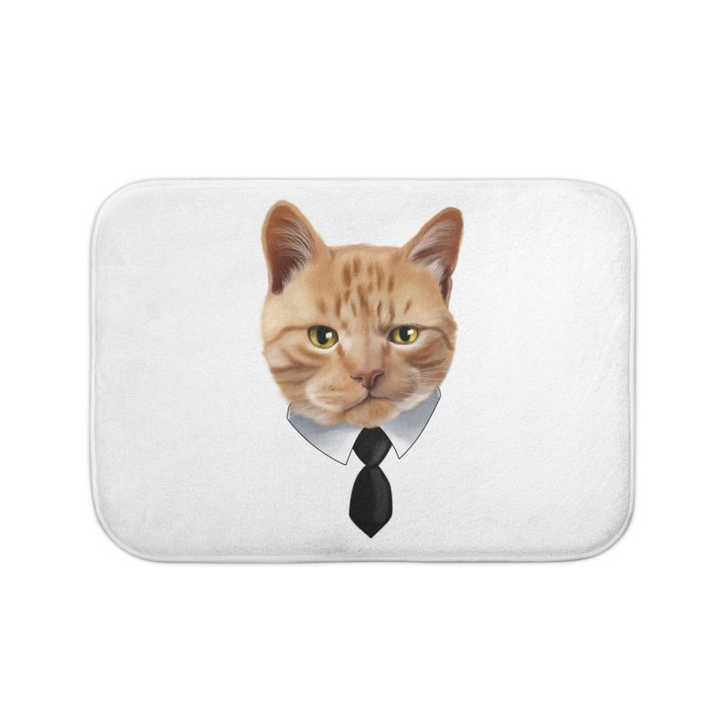 business cat Home Bath Mat by gabifaveri's Artist Shop