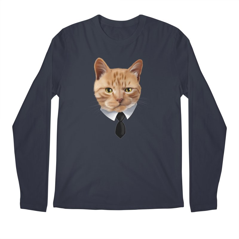 business cat Men's Regular Longsleeve T-Shirt by gabifaveri's Artist Shop