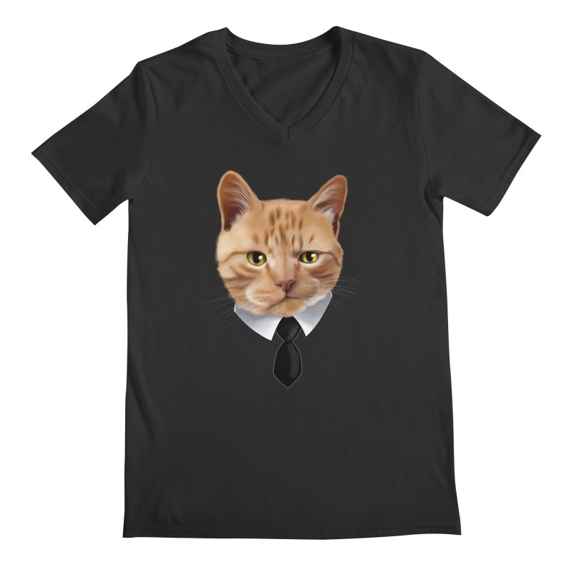 business cat Men's Regular V-Neck by gabifaveri's Artist Shop