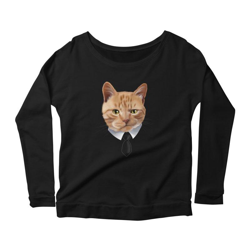 business cat Women's Scoop Neck Longsleeve T-Shirt by gabifaveri's Artist Shop