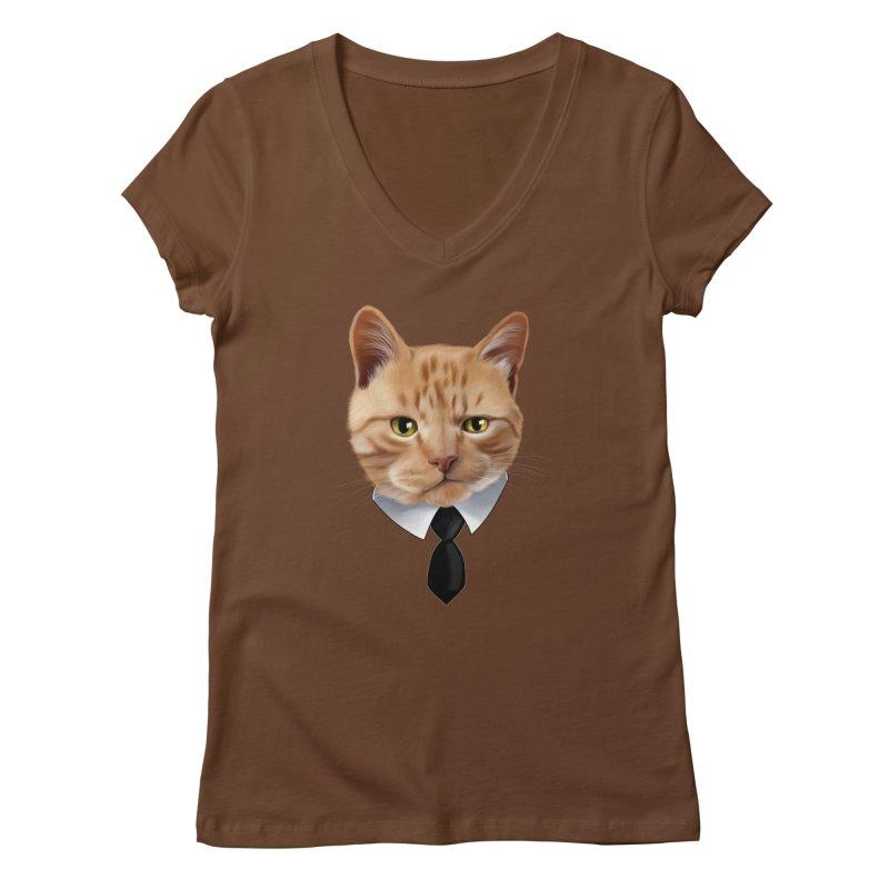 business cat Women's Regular V-Neck by gabifaveri's Artist Shop