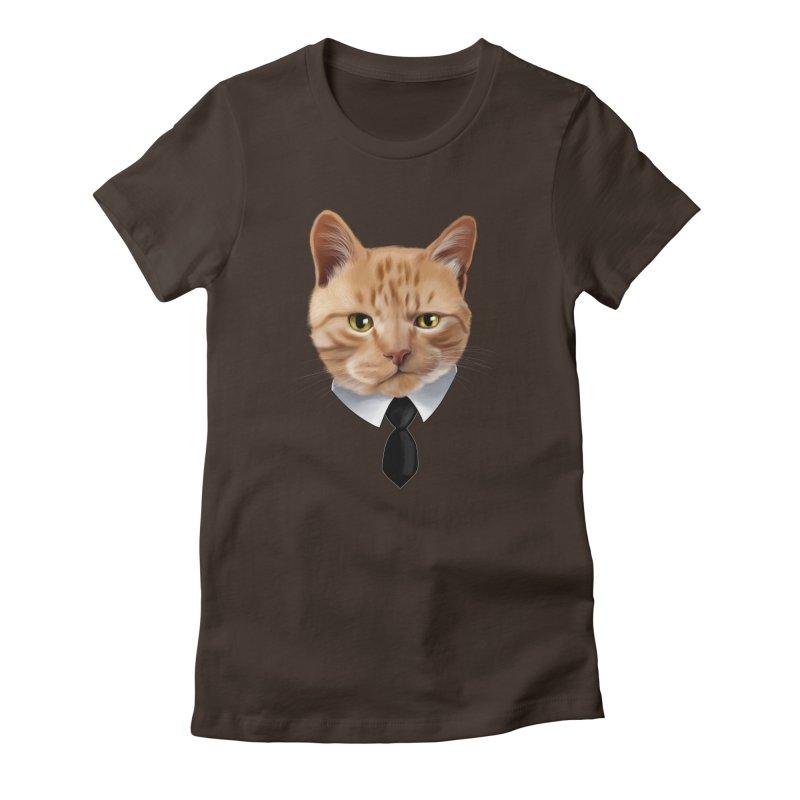 business cat Women's Fitted T-Shirt by gabifaveri's Artist Shop