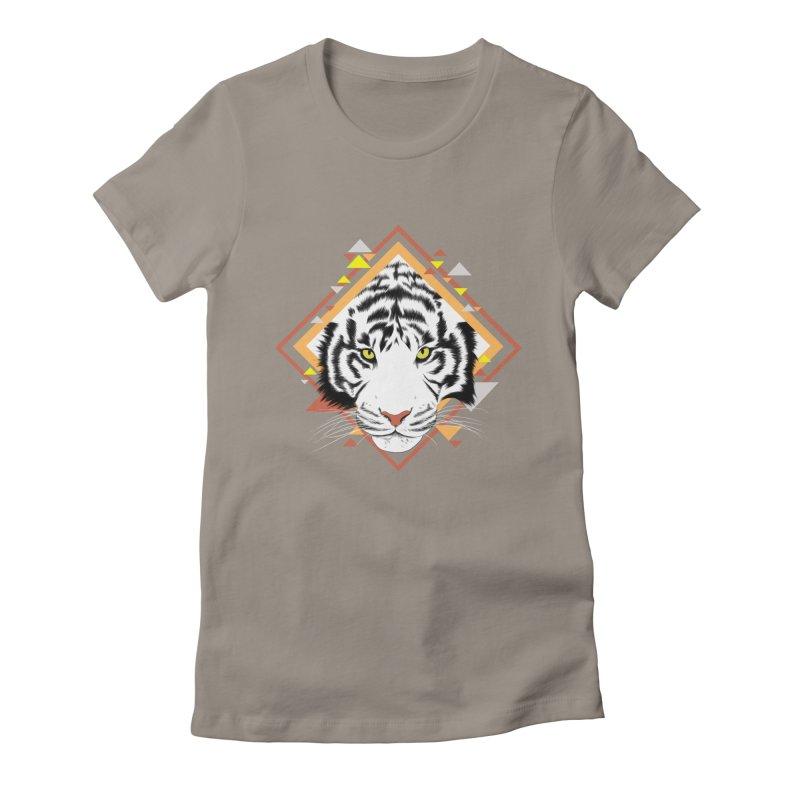 Tiger_Geometric Women's Fitted T-Shirt by gabifaveri's Artist Shop