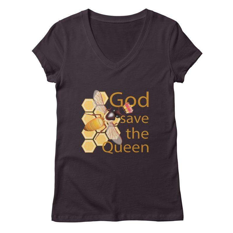 God Save the Queen Women's Regular V-Neck by gabifaveri's Artist Shop