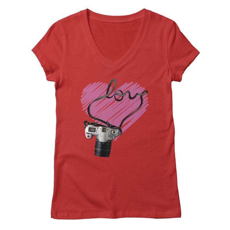 camera Love Women's Regular V-Neck by gabifaveri's Artist Shop