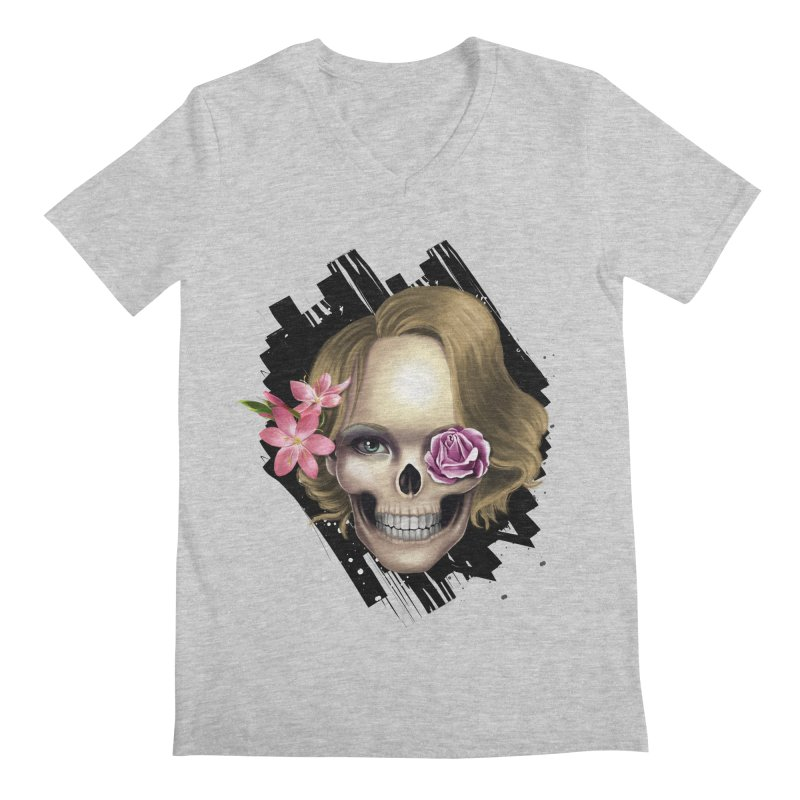 Skull_face art Men's Regular V-Neck by gabifaveri's Artist Shop