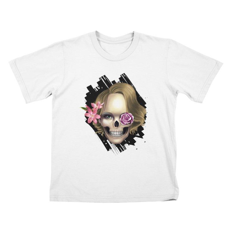Skull_face art Kids T-Shirt by gabifaveri's Artist Shop