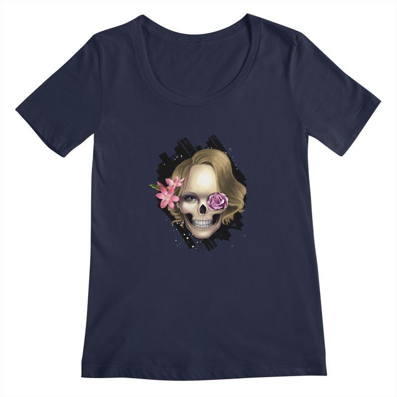 Skull_face art Women's Regular Scoop Neck by gabifaveri's Artist Shop
