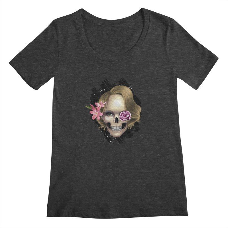 Skull_face art Women's Scoopneck by gabifaveri's Artist Shop