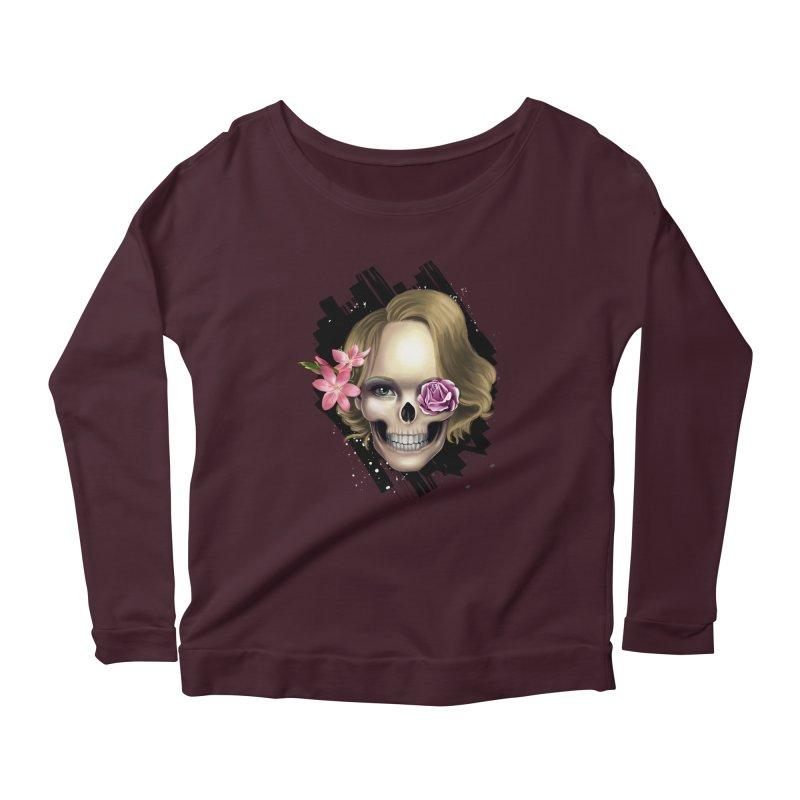 Skull_face art Women's Scoop Neck Longsleeve T-Shirt by gabifaveri's Artist Shop