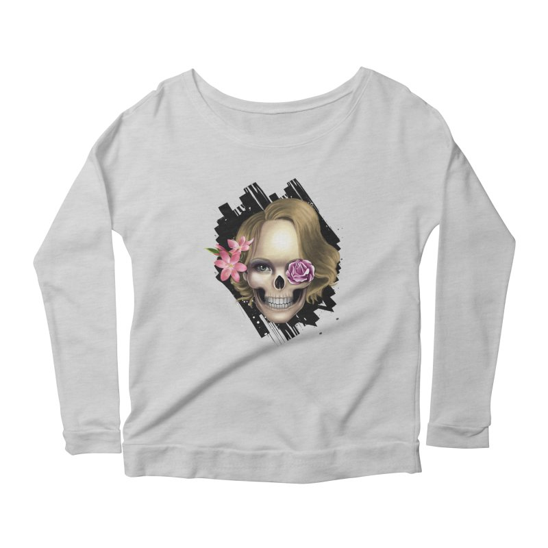Skull_face art Women's Scoop Neck Longsleeve T-Shirt by gabifaveri's Artist Shop