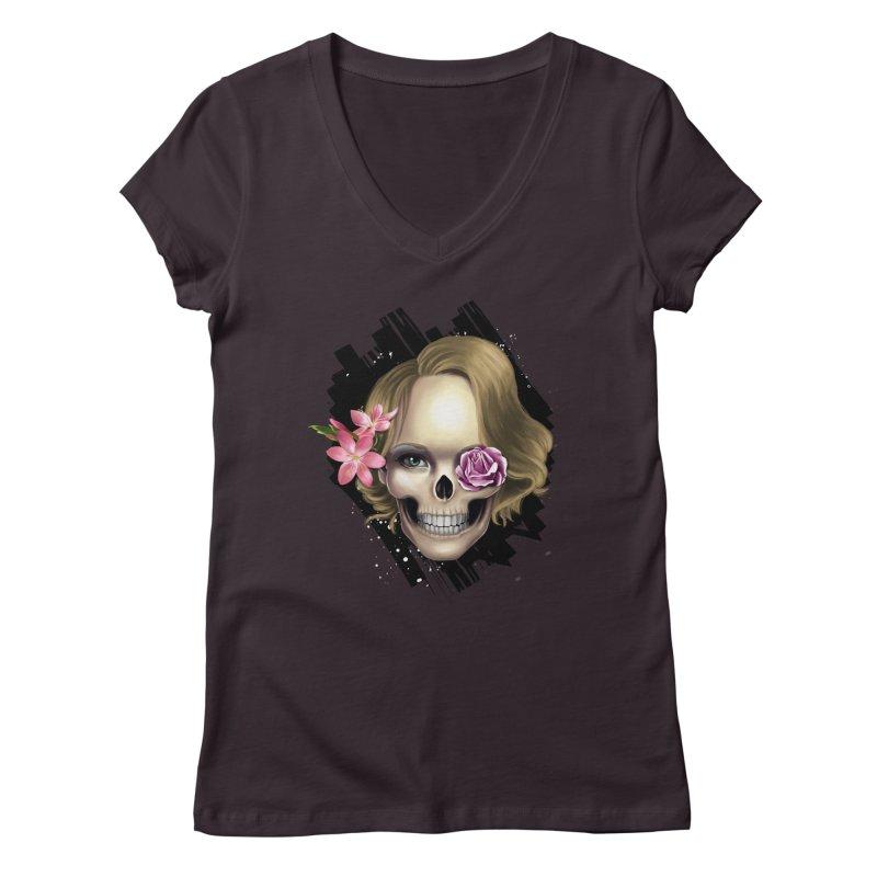 Skull_face art Women's Regular V-Neck by gabifaveri's Artist Shop