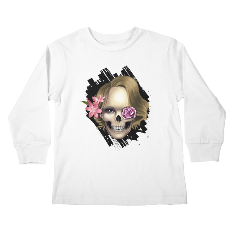 Skull_face art Kids Longsleeve T-Shirt by gabifaveri's Artist Shop