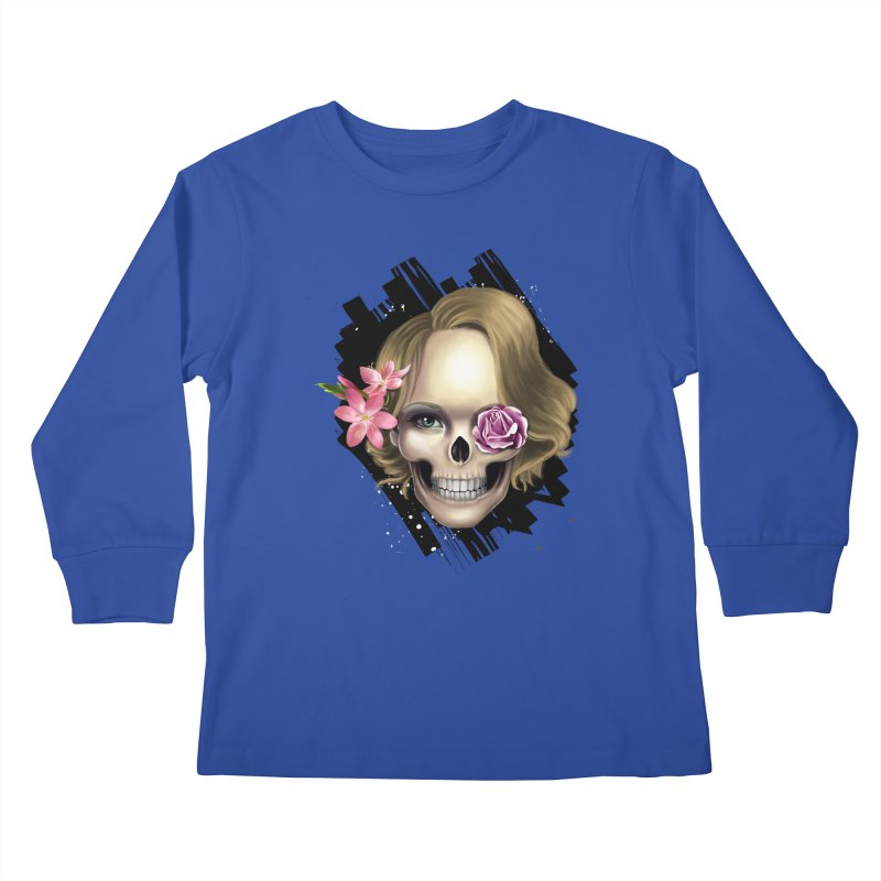 Skull_face art Kids Longsleeve T-Shirt by gabifaveri's Artist Shop