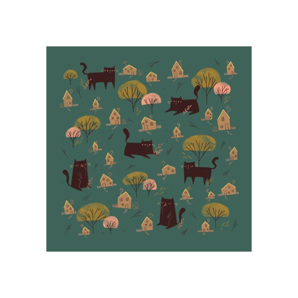 image for Little Houses and Giant Cats Pattern