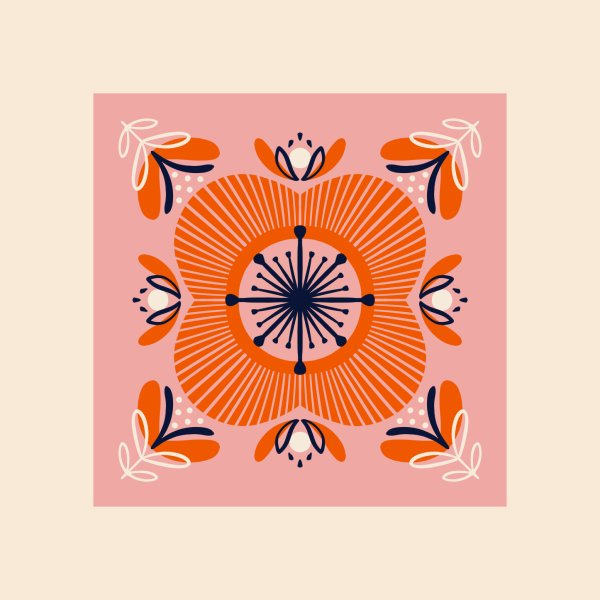 image for Retro pink and red flower pattern