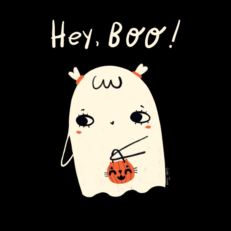 Hey Boo Halloween girl ghost Men's T-Shirt by Gabi Toma's Artist Shop