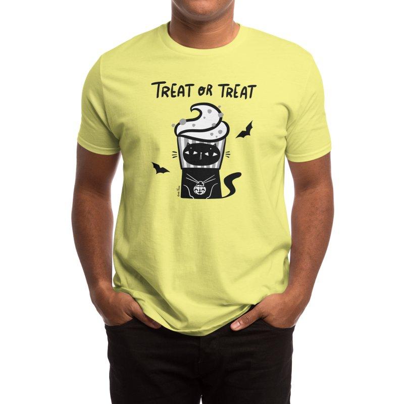 Trick or treat Halloween black cat Men's T-Shirt by Gabi Toma's Artist Shop