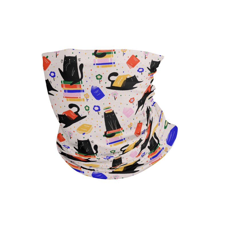 Cats and books and flowers pattern Accessories Neck Gaiter by Gabi Toma's Artist Shop