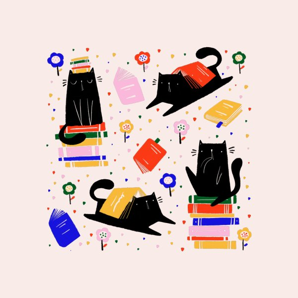 image for Cats and books and flowers pattern