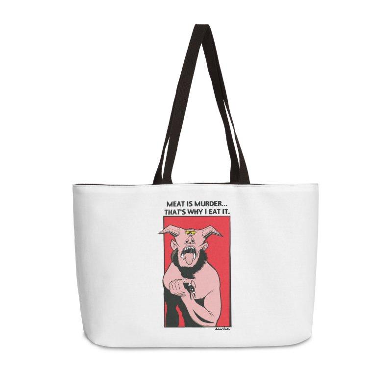 MEAT IS MURDER... Accessories Weekender Bag Bag by Gabriel Dieter's Artist Shop