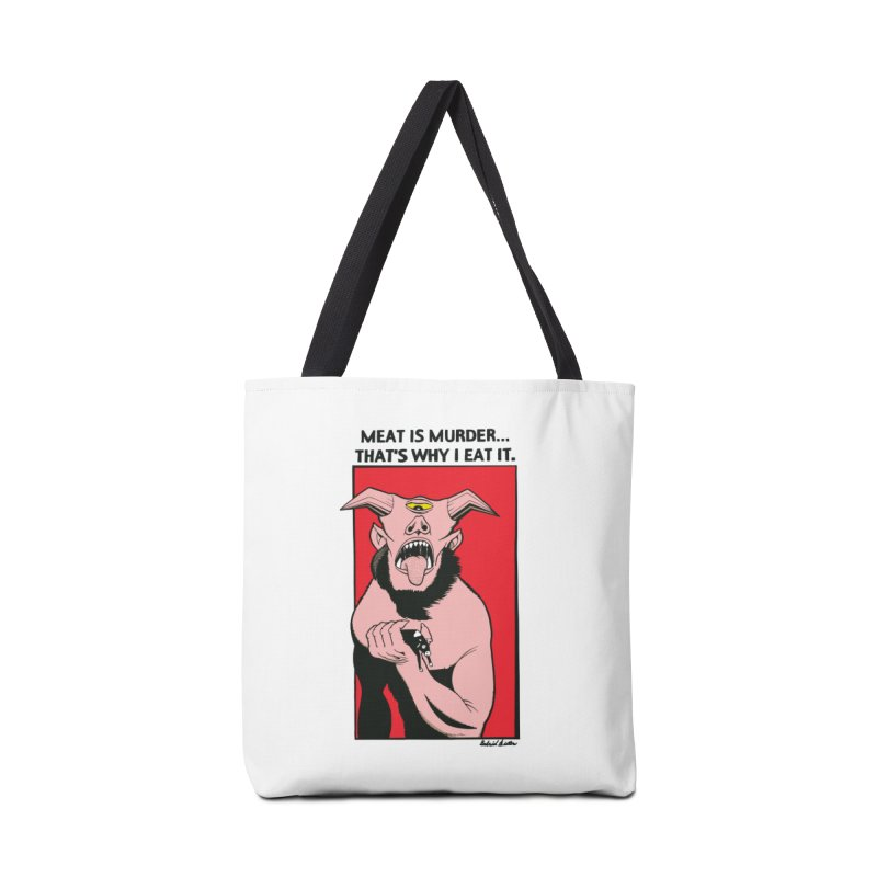 MEAT IS MURDER... Accessories Tote Bag Bag by Gabriel Dieter's Artist Shop