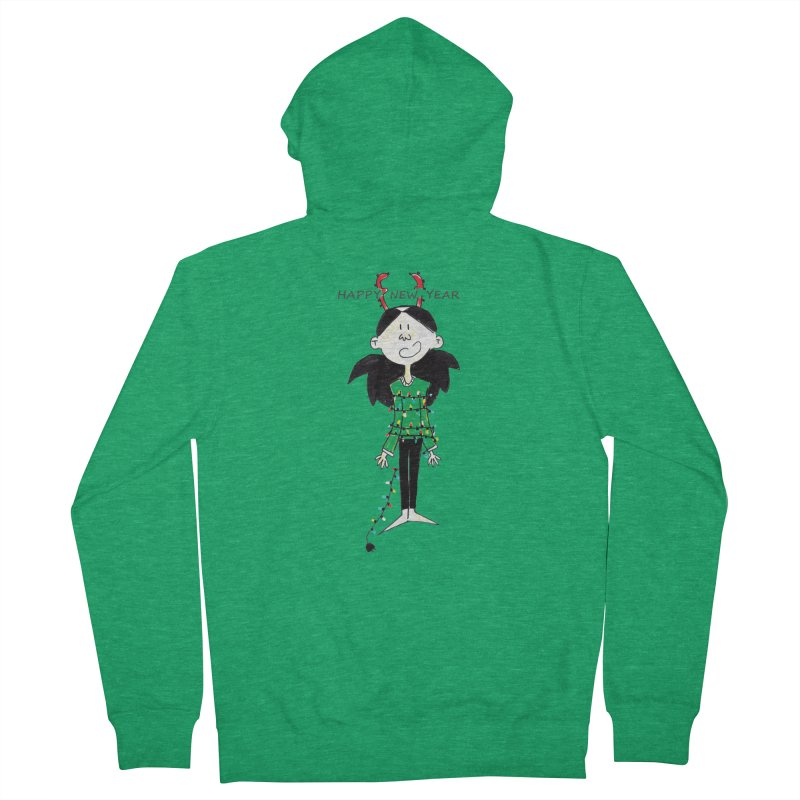 Happy New Year - Bounded with Xmas-tree lights Men's Zip-Up Hoody by Galarija's Artist Shop