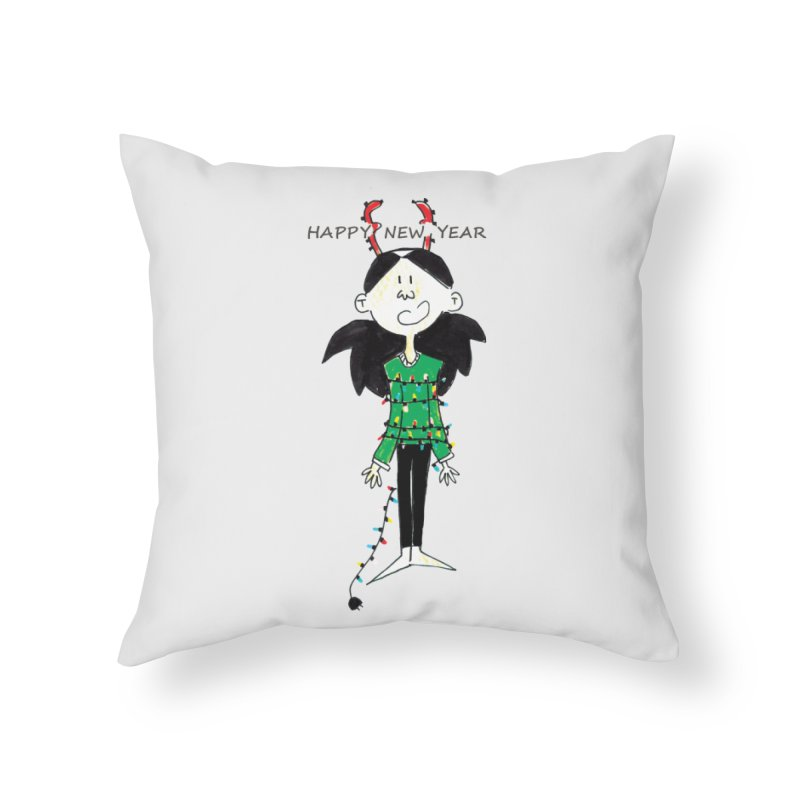 Happy New Year - Bounded with Xmas-tree lights Home Throw Pillow by Galarija's Artist Shop