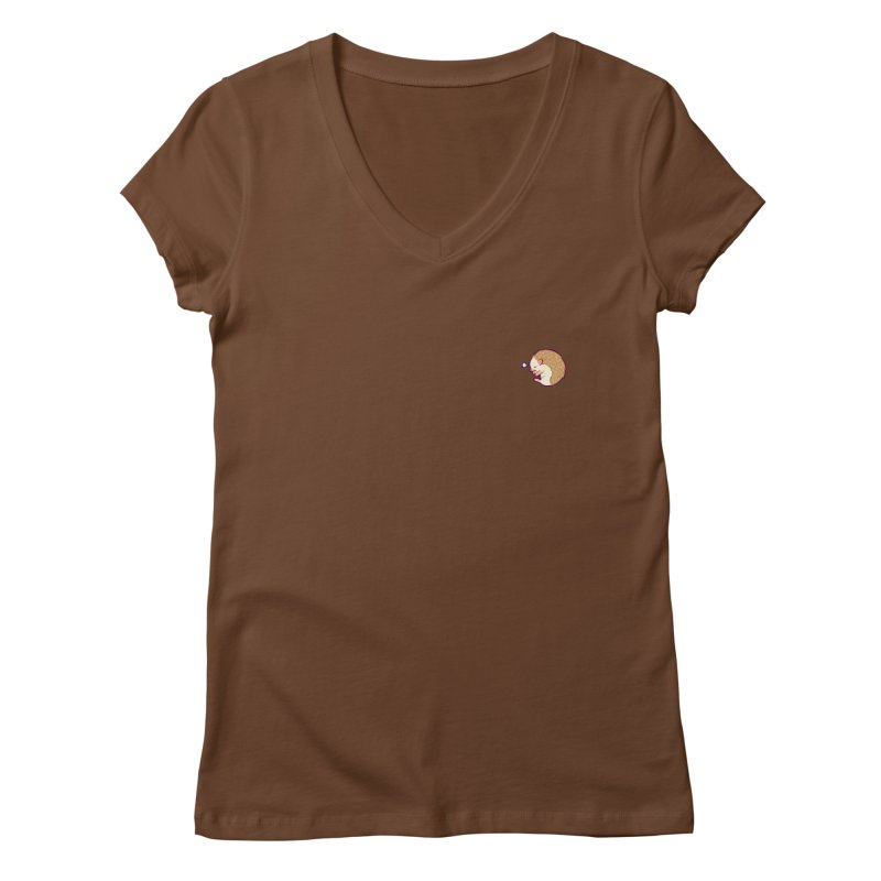 Small Sleepy Hedgie Women's V-Neck by galesaur's Artist Shop