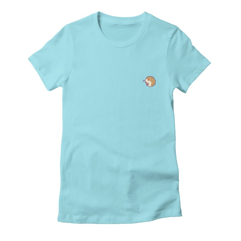Small Sleepy Hedgie Women's Fitted T-Shirt by galesaur's Artist Shop