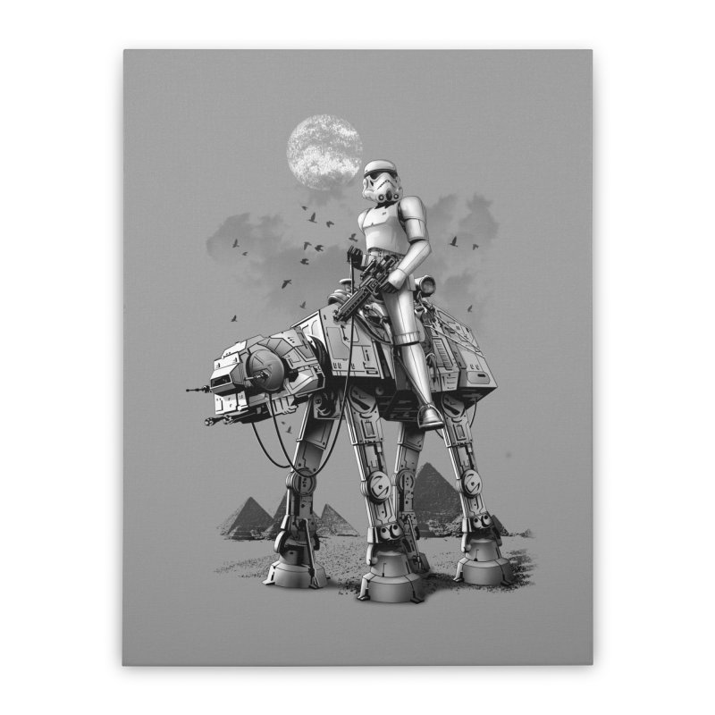 STORMTROOPER RIDING ATAT Home Stretched Canvas by gallerianarniaz's Artist Shop
