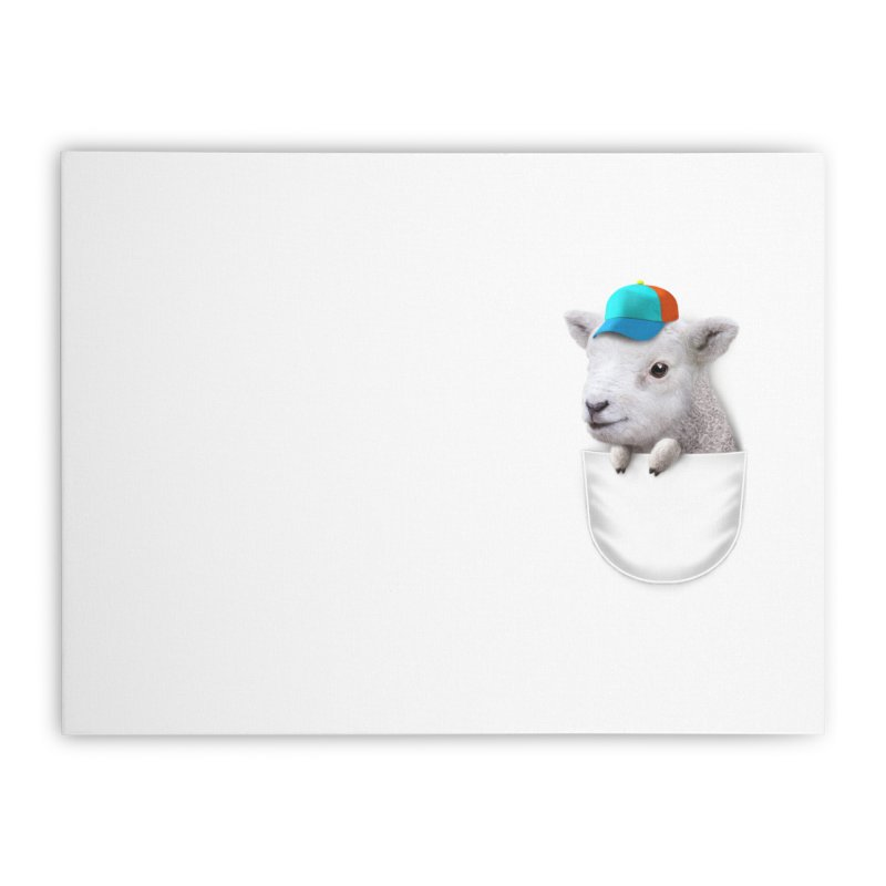 POCKET LAMB WITH CAP Home Stretched Canvas by gallerianarniaz's Artist Shop