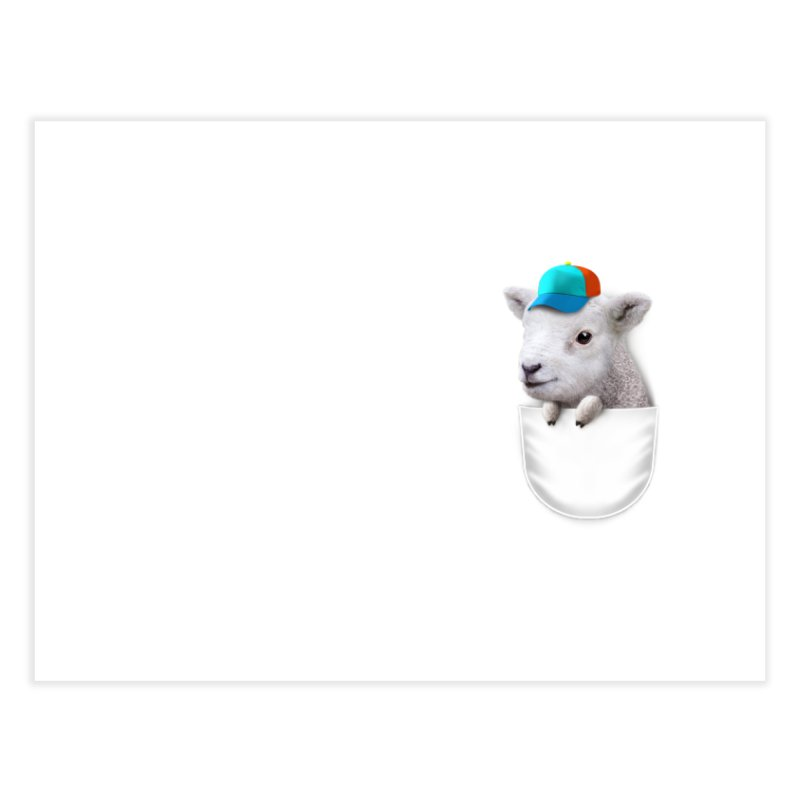POCKET LAMB WITH CAP Home Fine Art Print by gallerianarniaz's Artist Shop