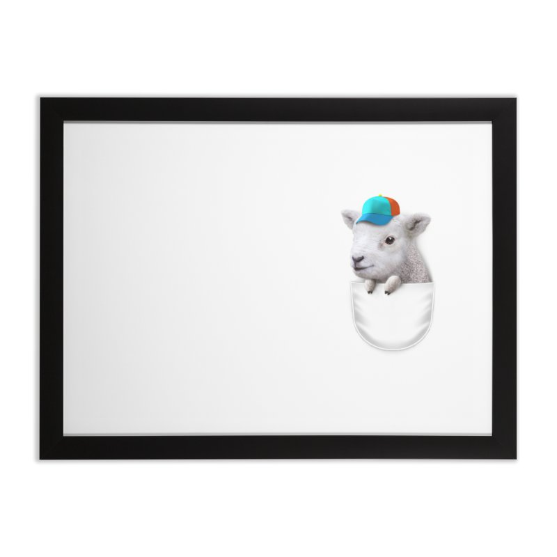 POCKET LAMB WITH CAP Home Framed Fine Art Print by gallerianarniaz's Artist Shop