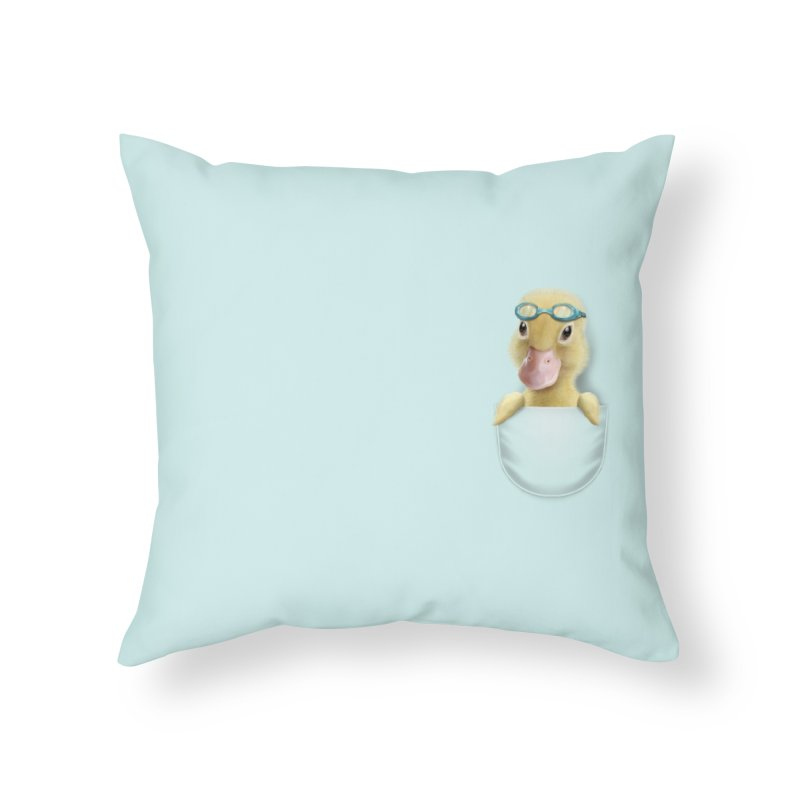 POCKET DUCK Home Throw Pillow by gallerianarniaz's Artist Shop