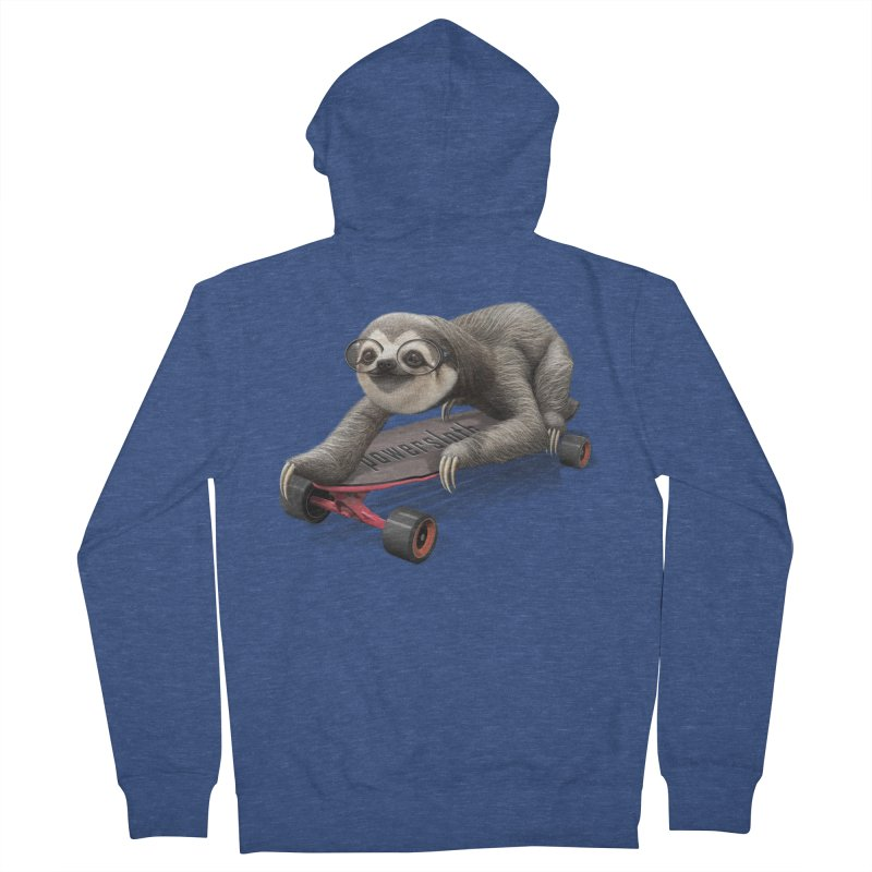 SLOTH ON SKATEBOARD Men's Zip-Up Hoody by gallerianarniaz's Artist Shop