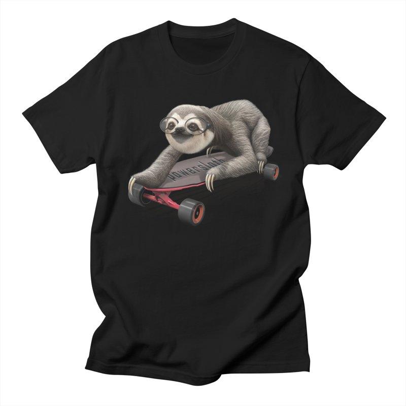 SLOTH ON SKATEBOARD Men's T-shirt by gallerianarniaz's Artist Shop